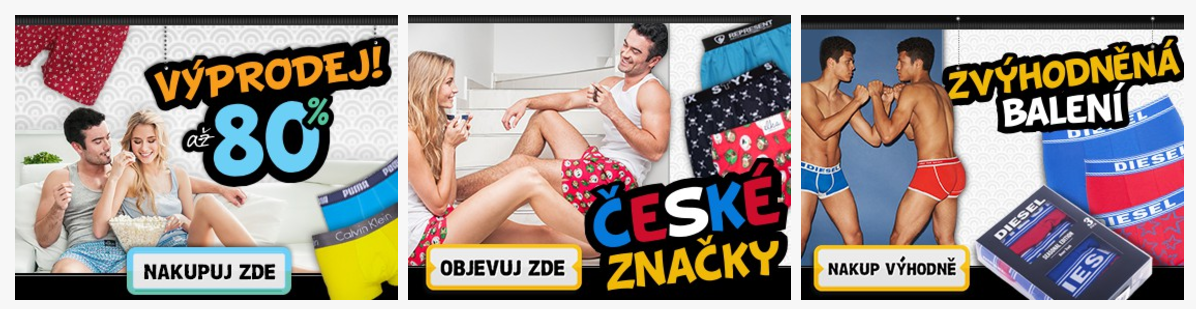 České značky trenýrek ve výprodeji