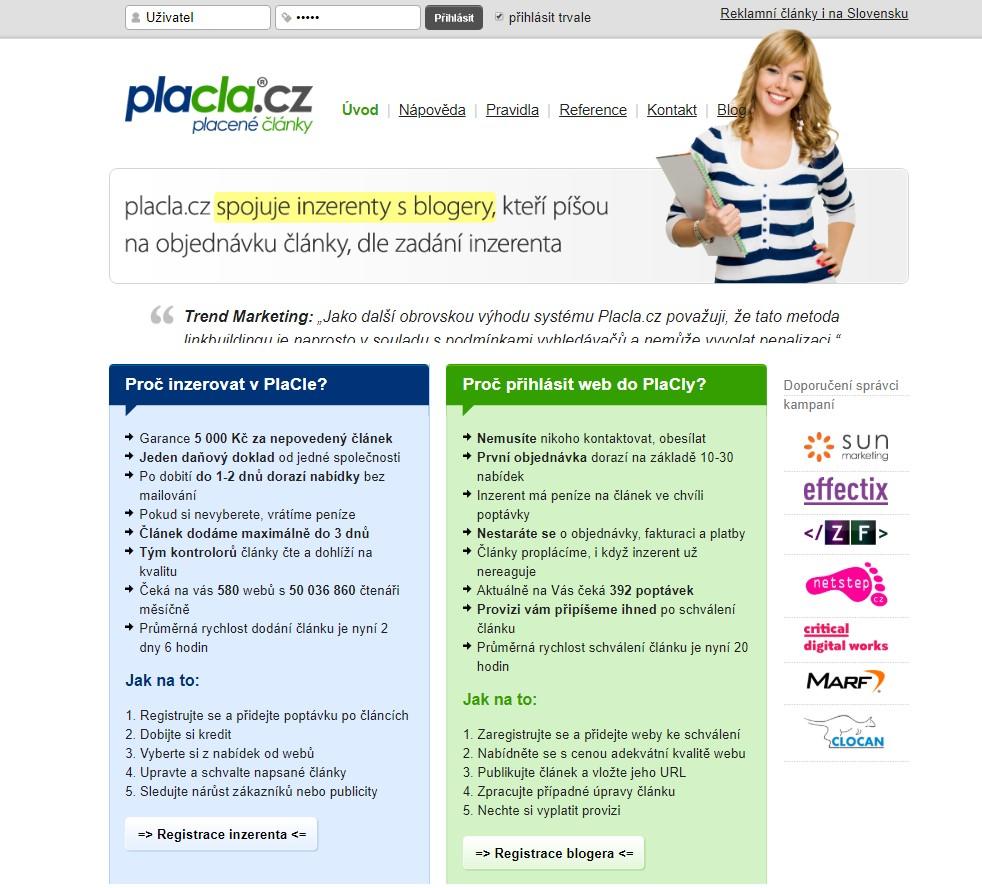 PlaCla homepage